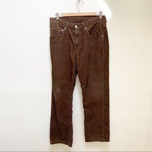 Levi's men brown corduroy straight leg pants 31x34